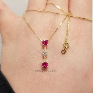 ♥️ Solid Real 10K Gold 10KT Lab Ruby Diamond Neck
